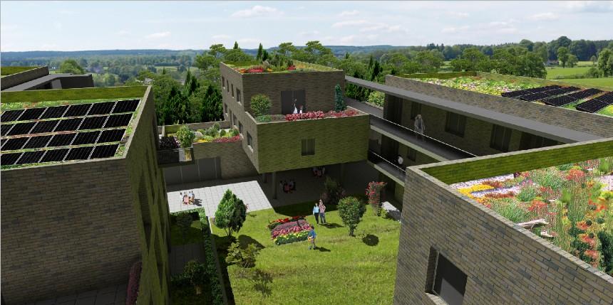Ansicht-Dach-Mehrgenerationenhaus
