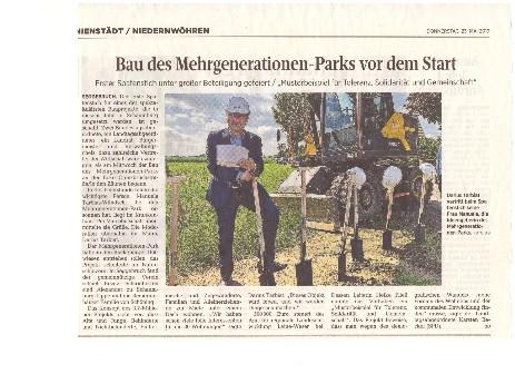 Bau des Mehrgenerationen-Parks vor dem Start