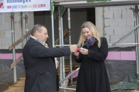 Richtfest Manuela Tabiat-Wündsch und Jörn Wittkugel, Ortsbürgermeister Seggebruch